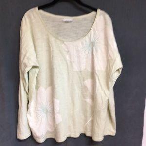 J.Jill long sleeve knit top w/floral motif size XL